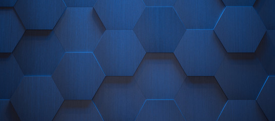 Dark Blue Hexagonal Tile Background (3d Illustration)