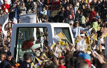Pope Benedict XVI arrives to celebrate Mass at La Prairie in Lourdes