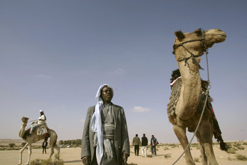 Israeli Bedouins take part in a camel race near the southern Israeli city of Be'er Sheva
