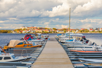Boats in the harbor of the Swedish city of Karlskrona