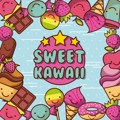 sweet kawaii lettering food with background colorful image vector illustration design