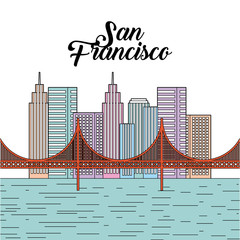 golden gate san francisco usa image vector illustration design