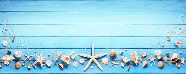 Starfish And Seashell On Blue Plank