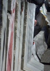 PALESTINIAN MAN LOOKS AROUND CONCRETE WALL SET UP NEAR NEW CHECKPOINTAT THE OUTSKIRTS OF EASTERN ...