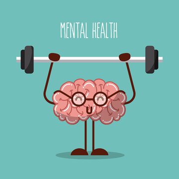 mental health brain lifting weights image vector illustration design
