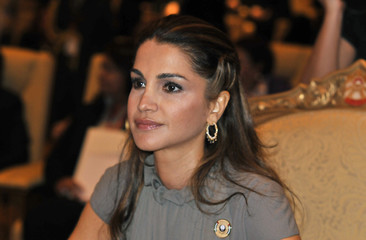 Jordan's Queen Rania looks on ahead of second  Arab Women's Conference in Emirates Palace in Abu Dhabi