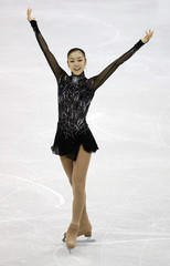 Kim of South Korea finishes her routine in Ladies Short Program portion of 2009 ISU World Figure Skating Championships in Los Angeles
