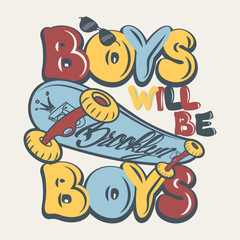 Skate board boys t-shirt graphics vector illustration
