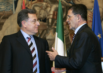 Italy's Prime Minister Prodi talks to his Lebanese counterpart Siniora at Chigi Palace in Rome
