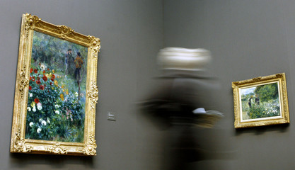 """Pierre-Auguste Renoir's paintings entitled """"Garden in the Rue Cortot, Montmartre"""" and """"Picking flowers"""" are displayed in London"""
