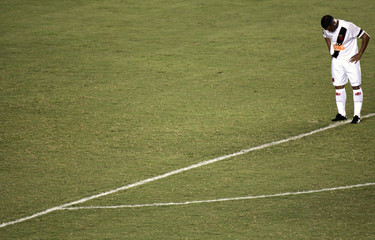 Vasco da Gama's Romario stands on pitch during Brazil Cup match against Gama in Rio de Janeiro