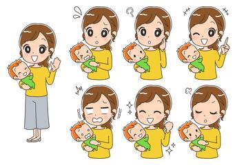 赤ちゃんと母親のイラスト(全身・セット)