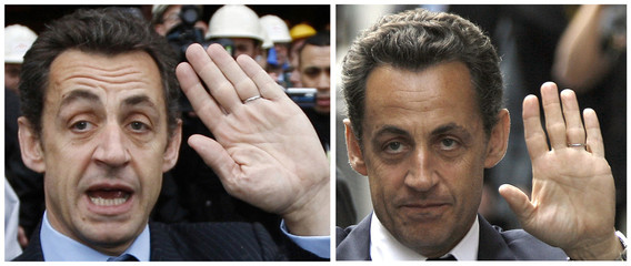 This combination picture shows France's President Nicolas Sarkozy wearing his old and new wedding rings