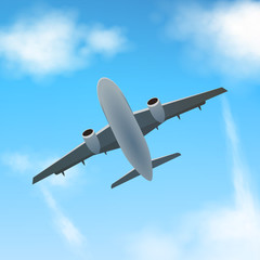 Plane flies high in the clouds, bottom view. A realistic aircraft and clouds. Vector.