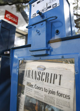 The local paper is seen outside the Coors brewery in Golden, Colorado