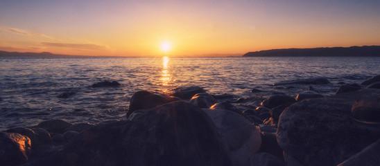 Beautiful sunset in Halkidiki, Athos, Greece