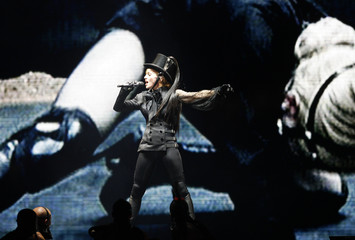 Pop star Madonna performs during her concert in Duesseldorf
