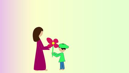 Kind überreicht seiner Mutter eine Blume