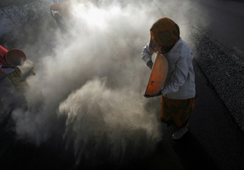 A worker throws a mixture of fine brick particles and soil during construction of a road in Bhavnagar