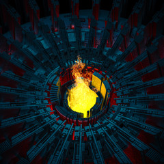 Blazing furnace concept / 3D illustration of raging flames rising from industrial scifi forge