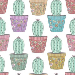 Cactus in ornamental pots seamless pattern. Hand drawn succulent background. Vector illustration
