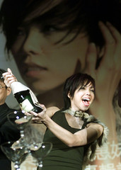 TAIWAN POP DIVA CHANG HUEI-MEI OPENS A CHAMPAGNE IN TAIPEI.
