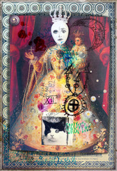 Garden Poster Imagination Esoteric and astrologic graffiti,scraps and collage