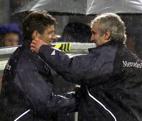 GERMAN COACHES SKIBBE AND VOELLER AFTER MATCH AGAINST ALBANIA IN LEVERKUSEN.