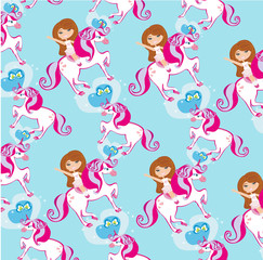 seamless pattern with Girl on a unicorn