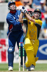 AUSTRALIA'S MAHER HITS A FOUR DURING ONE-DAY MATCH AGAINST ENGLAND INHOBART.