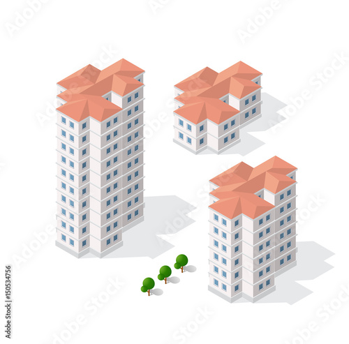 Isometric 3D Dimensional Skyscraper Building Of Modern Architecture Urban Construction Drawing Map Engineering Design