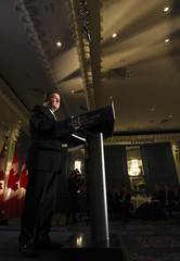 Canada's Finance Minister Jim Flaherty speaks to the economic community in Toronto