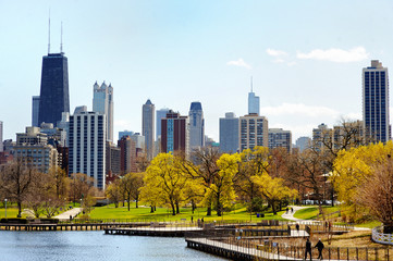 Photo sur Toile Chicago Chicago skyline viewed from Lincoln Park