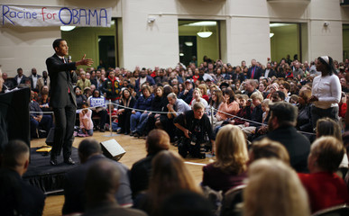Barack Obama campaigns in Racine Wisconsin