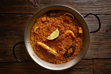 Fideua seafood Paella recipe for two of Spain