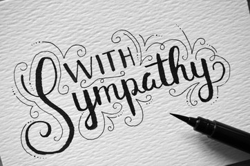 WITH SYMPATHY hand lettering card