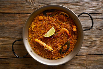 Fideua seafood Paella recipe for two of Spain