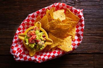 Nachos with guacamole mexican recipe