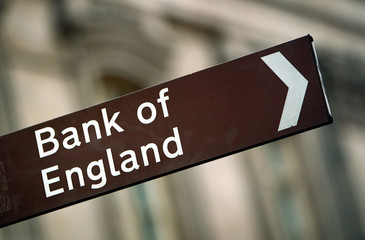 SIGN INDICATING LOCATION OF BANK OF ENGLAND IS SEEN IN CENTRAL LONDON.