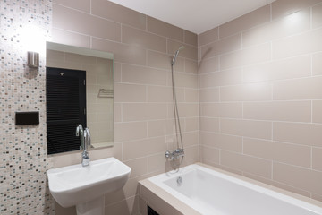 Modern bathroom with a shower and bathtub
