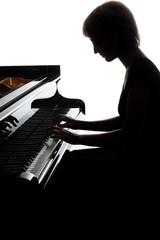 Poster Muziek Grand piano player. Pianist woman playing piano