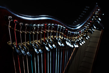 Harp instrument strings closeup. Irish harp music