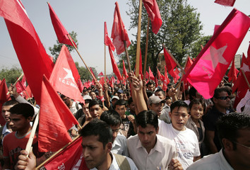 Maoist activists take part in a protest in Kathmandu