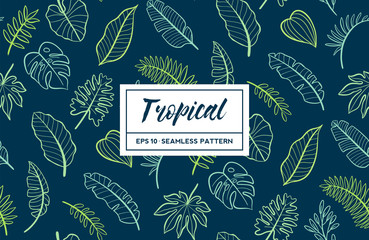 Hand drawn tropical design seamless pattern. Vector illustration.