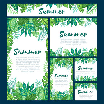 Set of six different web design formats with tropical summer design. Suitable for nature concept, vacation, and summer holidays. Editable vector illustration.