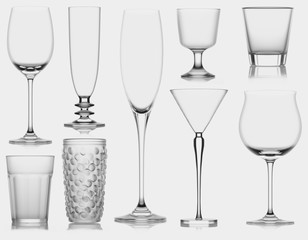Glass cup, isolated. 3D illustration. Black and White