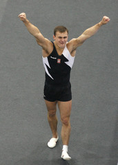 Blanik of Poland performs on the vault to win the gold medal during the men's final at the 40th World Artistic Gymnastics Championships in Stuttgart