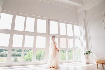 portrait of beautiful bride indoor. Fashion bride girl in gorgeous wedding dress in studio