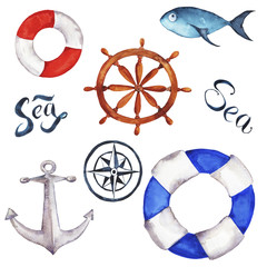 Set of marine fish, lifebuoys, compass, handwheel and anchor isolated on white background. Hand lettering. Hand drawn watercolor illustration.