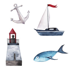 Set of lighthouse, boat, anchor and fish painted by watercolor. Hand drawn illustration.